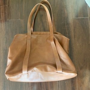 Tan Leather Large Tote Bag